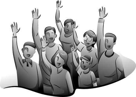 enthusiastic: Black and White Illustration of Enthusiastic Volunteers Raising Their Hands Stock Photo