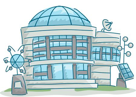 astronomie: Illustration eines Wissenschaftsforschungszentrums mit Wissenschaft Verwandte Elemente verstreut herum