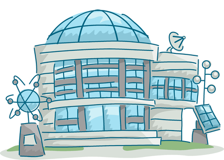 atomic center: Illustration of a Science Research Center with Science Related Elements Scattered Around