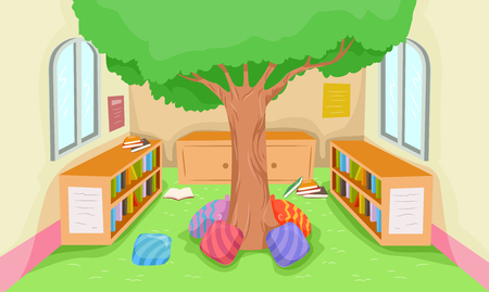 installed: Illustration Featuring the Interior of a Modern Library with a Playing Area Installed