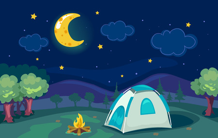 stargazing: Cartoonish Illustration of a Mountain Camp with a Tent with a Good View of the Moon and the Stars Stock Photo