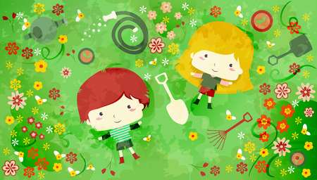 blonde females: Illustration of a Redheaded Boy and a Blonde Girl Lying in the Midst of Flowers and Gardening Tools - eps10 Stock Photo