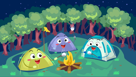 Mascot Illustration of a Group of Camping Tents Cooking Smores Together