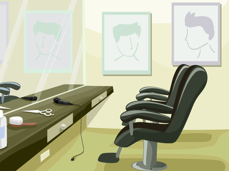 recline: Illustration Featuring the Interior of a Barber Shop Complete with Tools and Reclining Chairs Stock Photo