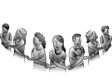 Zwart-wit Illustratie van mensen vormen een menselijke ketting in een show van Unity
