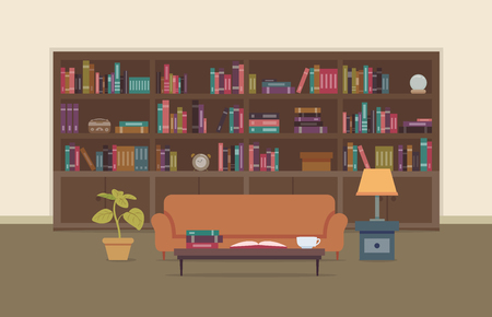 books library: Flat Illustration of a Personal Library Featuring a Large Bookshelf with a Large Collection of Books
