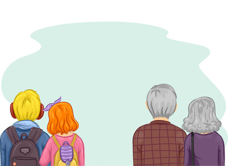 generations: Romantic Illustration of a Pair of Young and Elderly Couples Standing Side by Side Stock Photo