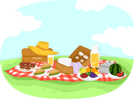 picnic blanket: Colorful Illustration Featuring a Picnic Setup Composed of Cupcakes, Fruits, and Sandwiches
