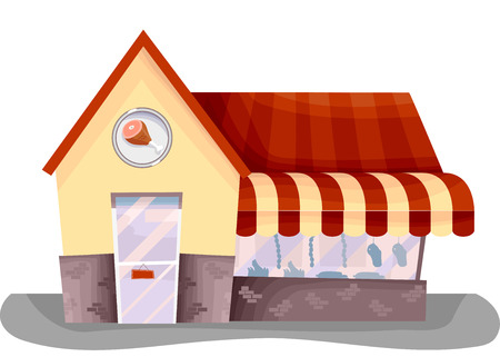 window display: Illustration Featuring the Facade of a Small Meat Shop Complete with Window Display and a Store Logo Stock Photo