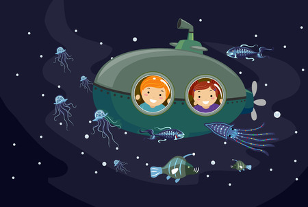 small group of animal: Stickman Illustration of Preschool Kids in a Submersible Seacraft Observing Bioluminescent Marine Animals