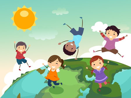 Stickman Illustration of a Group of Preschool Kids Playing on Top of a Globe Stock Photo