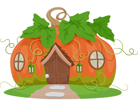 Colorful and Whimsical Illustration of a Fancy House Shaped Like a Pumpkin