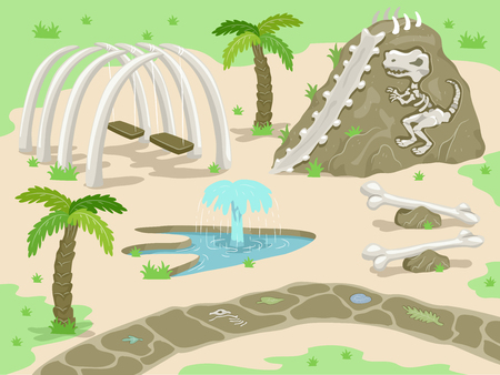 fountains: Illustration of a Fantasy Prehistoric Theme Park with Attractions Built with Dinosaur Bones