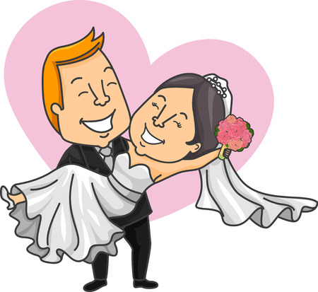 carrying out: Romantic Illustration of a Caucasian Groom Carrying His Asian Bride in His Arms