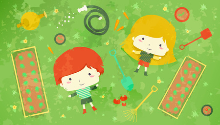 redheaded: Illustration of a Redheaded Boy and a Blonde Girl Lying in the Midst of Vegetable Plots and Gardening Tools - eps10