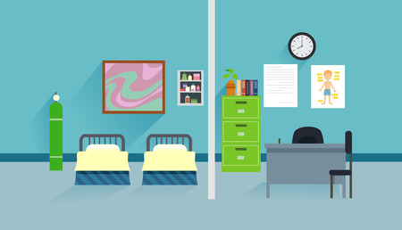 Flat Illustration Featuring the Interior of a School Clinic Complete with Beds and a Consultation Desk