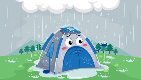 anthropomorphism: Mascot Illustration of a Sad Tent Drenched in Rain After Getting Caught in a Thunderstorm Outside Stock Photo