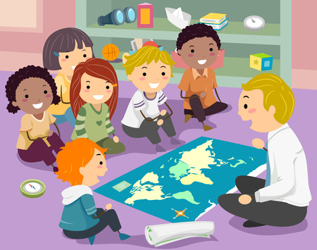 group of kids: Stickman Illustration of a Group of Preschool Kids Listening to Their Geography Teacher Stock Photo
