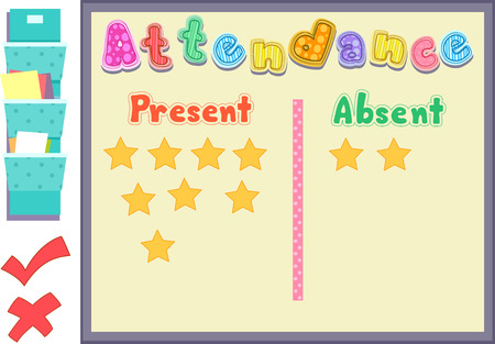 tardiness: Colorful Illustration Featuring an Attendance Board Listing Who is Present and Who is Absent