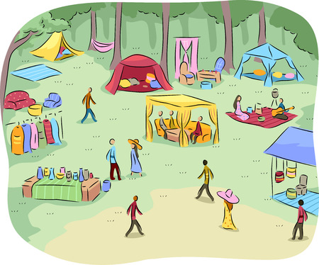 leisurely: Landscape Illustration of a People Having Leisurely Picnics in a Public Park