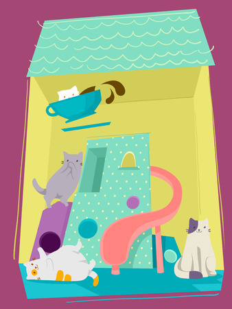 specialty store: Adorable Illustration of Different Breeds of Cats Playing in a Cat Tower Fitted with a Slide Stock Photo