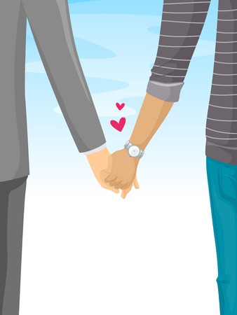leisurely: Romantic Illustration of a Couple Holding Hands While Taking a Leisurely Stroll