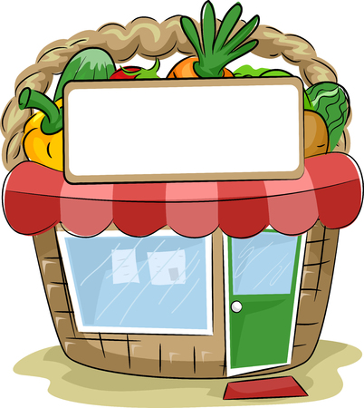 Colorful Illustration of a Produce Stand Shaped Like a Basket Filled with Vegetables Stock Photo