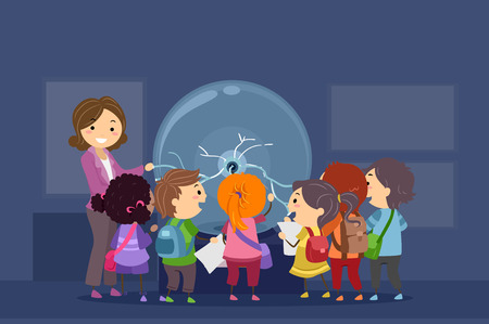 museum: Stickman Illustration of a Group of Preschool Kids Observing a Plasma Ball During a Field Trip