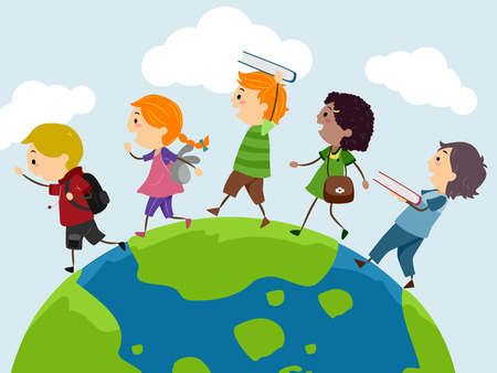 Stickman Illustration of a Group of Preschool Kids Walking on Top of a Globe