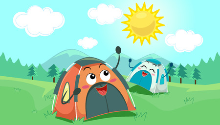 Mascot Illustration of a Pair of Camping Tents Enjoying the Sunny Weather Outside