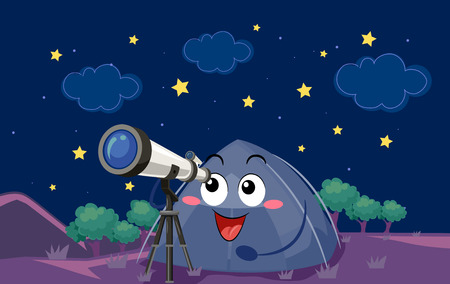 long range: Mascot Illustration of a Camping Tent Observing Heavenly Bodies Using a Long Range Telescope