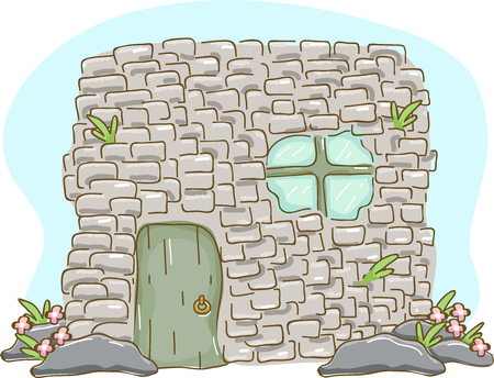 sturdy: Illustration of a Small but Sturdy House Built with Adobe Bricks with a Mini Garden in Front