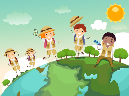 Stickman Illustration of a Group of Preschool Kids in Safari Uniforms Walking All Over a Globe Imagens