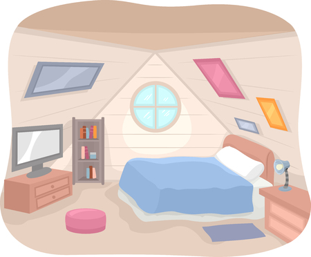 attic: Illustration Featuring the Interior of an Attic Complete with a Bed, a Shelf, and a TV Set
