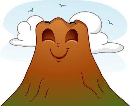 anthropomorphism: Mascot Illustration of a Calm and Peaceful Volcano Framed by a Clear Sky