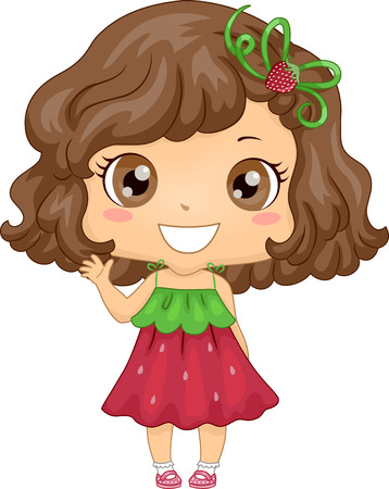 Illustration of a Cute Little Girl in a Strawberry Themed Dress Waving Her Hand Stock Photo