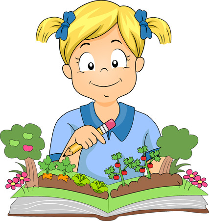 storybook: Illustration of a Little Girl Opening a Colorful Pop Up Book About Gardening
