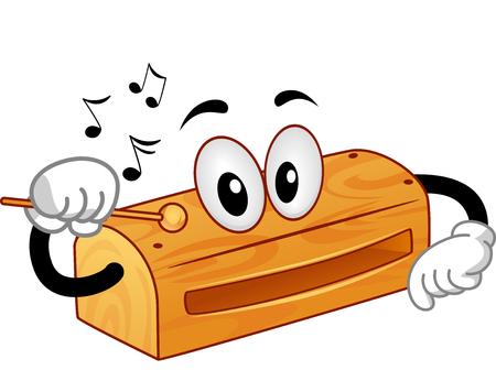 instruments de musique: Mascot Illustration d'un bloc de bois lui-même taraudage avec un bâton en bois pour produire des sons