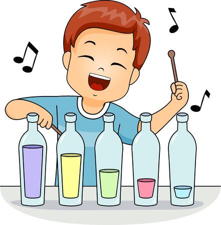 xilofono: Ilustración de un niño pequeño lindo que juega con un xilófono improvisada hecha de botellas de cristal