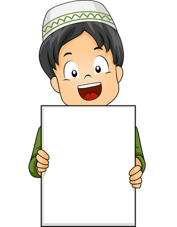Illustration of a Cute Little Muslim Boy Flashing a Wide Smile While Holding a Blank Board Stock Photo