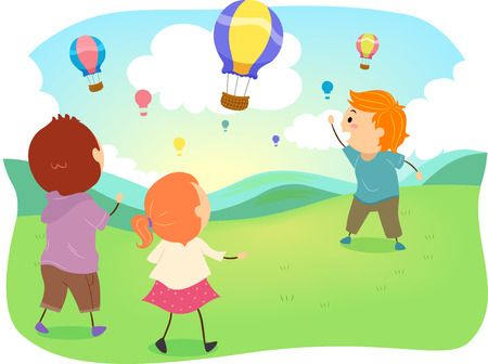 Stickman Illustration of a Group of Preschool Kids Watching Hot Air Balloons at a Festival