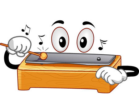 Mascot Illustration Featuring a Chime Bar Tapping its Metal Bar with a Mallet