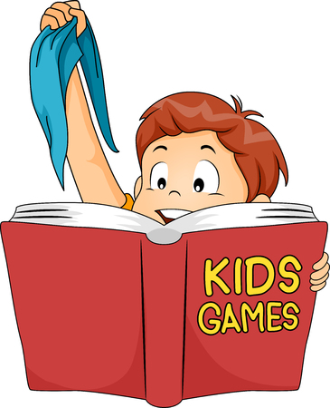 Illustration of a Cute Little Boy Holding a Blindfold While Reading a Book About Games for Kids Stock Photo