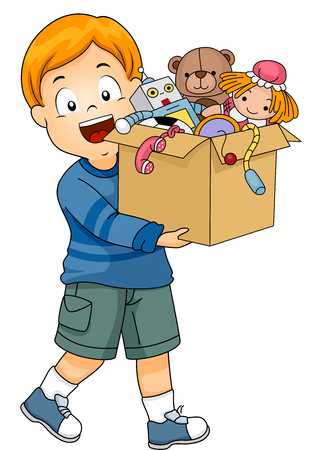 Illustration of a Smiling Little Boy Carrying a Box of Old Toys About to be Donated Stock Photo