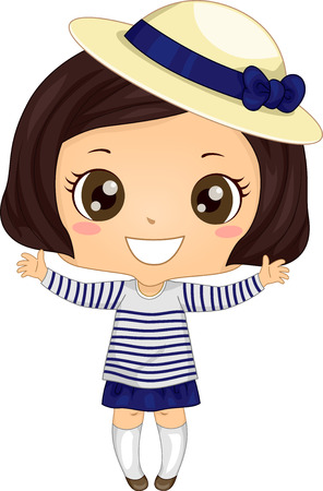 breton: Illustration of a Cute Little Girl Wearing a Breton Shirt and a Derby Hat