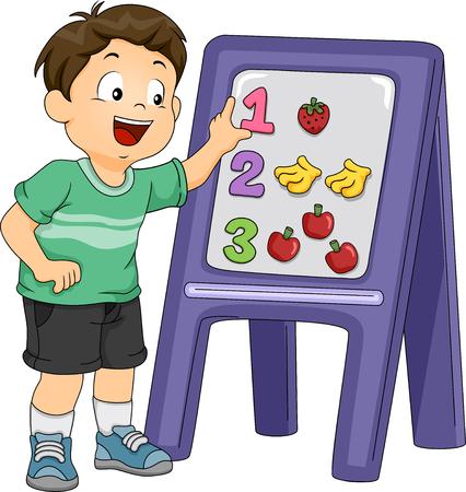 magnetic clip: Illustration of a Little Boy Using a Board and a Set of Stickers to Match Objects With Their Corresponding Numbers