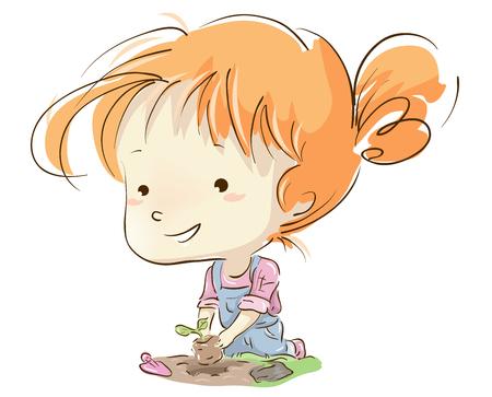 gardening: Illustration of a Cute Little Girl in a Jumper Replanting a Growing Sapling