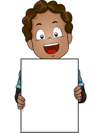 african boy: Illustration of a Cute Little African Boy Flashing a Wide Smile While Holding a Blank Board