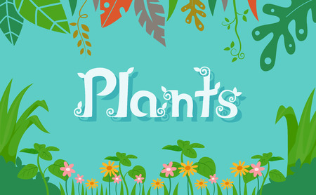 Typography Illustration Featuring the Word Plants Laid Against a Rainforest Background Stock Photo