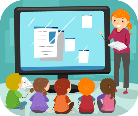 bonhomme allumette: Illustration Stickman d'un groupe d'enfants d'âge préscolaire à l'écoute Leçons informatiques